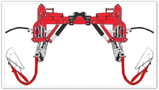 Barre porte-outils à extension hydraulique par parallélogramme EGRETIER équipée de 2 porte-interceps et de corps décavaillonneurs